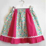 z girls skirt floral and pink spot spliced size 4