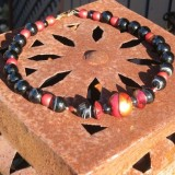z artisan painted red and gold wood focal bead, black agate and red glass necklace and earrings set