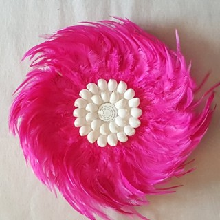 juju hat mini hot pink mini small feathers shell centre handmade wall hanging decor