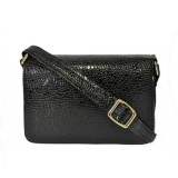 hand bag in black snakeskin patent leather look cross over style