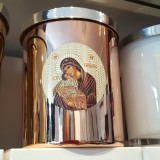 soy wax candle livani panayia religious icon in rose gold