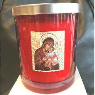 soy wax candle livani panayia religious icon in red glass jar