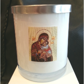 soy wax candle livani panayia religious icon in white glass jar