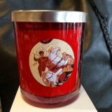 soy wax candle livani st george religious icon in red glass jar