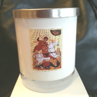soy wax candle livani st george religious icon in white glass jar