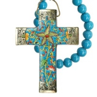 cross porcelain with beads handmade handpainted turquoise peacock blue wall hanging with beads ceramic