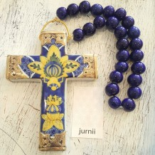cross ceramic porcelain with beads handmade blue and yellow wall hanging with beads