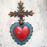 cross tin mexican handmade with red blue heart detail