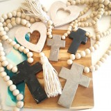 cross marble with wood beads black or grey/brown handmade wall hang
