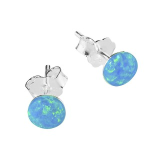 earring studs opal style blue or white