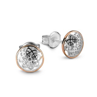 earring studs celtic design silver rose gold edge