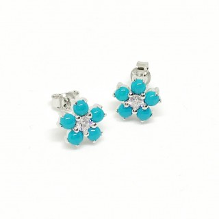 earring studs turquoise flower and cz in 925 sterling silver