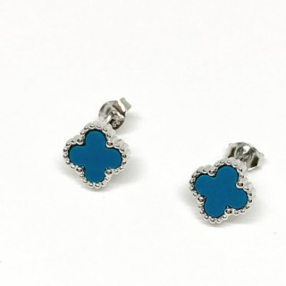 earring studs 4 leaf clover or cross style 925 sterling silver blue, black,mother of pearl mop