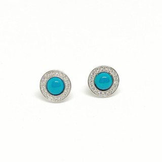 earring studs turquoise cz round in 925 sterling silver