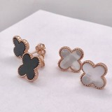 earring studs 4 leaf clover or cross style rose gold 925 sterling silver black and mother of pearl mop