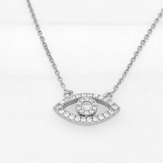 evil eye necklace cz eye shape 925 silver or rose gold