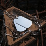 men's stainless steel large double dog tag pendant