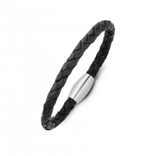 men's stainless steel and plaited leather bracelet - black