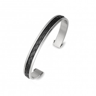 men's stainless steel plaited leather cuff black