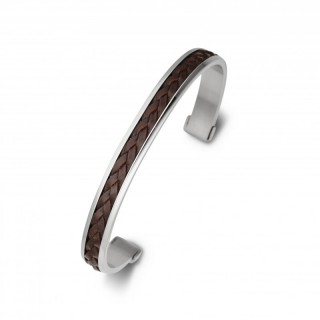 men's stainless steel plaited leather cuff brown