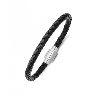 men's stainless steel and plaited leather bracelet with magnetic clasp black