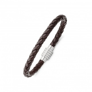 men's stainless steel and plaited leather bracelet with magnetic clasp brown