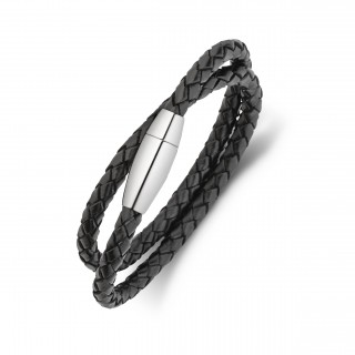 men's stainless steel and plaited leather double wrap bracelet black or brown