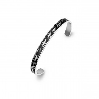 men's stainless steel cuff with black detail