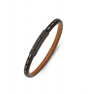 men's stainless steel and brown leather bracelet with stripe detail