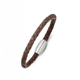 men's stainless steel and plaited leather bracelet - brown