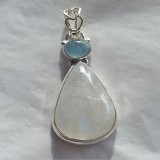 pendant in aquamarine and moonstone 925 sterling silver
