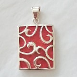 pendant coral red resin colour with scroll detail 925 sterling silver