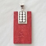 pendant red coral rectangle 925 sterling silver