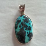pendant azurite inspired 925 sterling silver