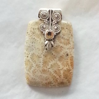 pendant coral fossil citrine rectangle pendant 925 sterling silver