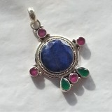 pendant lapis lazuli indian ruby emerald 925 sterling silver