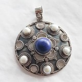 pendant lapis lazuli and pearl oxidised finish 925 sterling silver