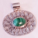 pendant malachite and scroll pattern 925 sterling silver
