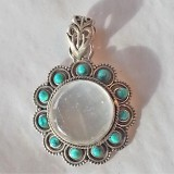 pendant in selenite and turquoise 925 sterling silver