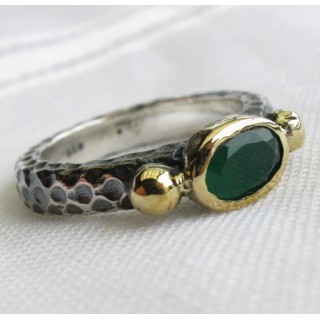 turkish emerald vintage style ring 925 sterling