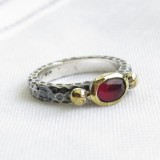 turkish ruby vintage style ring 925 sterling