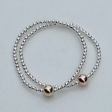 layer stack stretch ball bracelet rose gold, gold filled 925 sterling silver