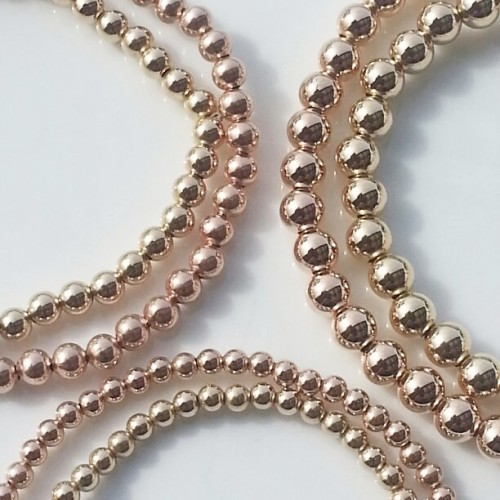 315047a7afc layer stack stretch ball bracelet 3mm, 4mm, 5mm rose gold or yellow gold  filled 925