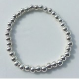 layer stack stretch ball bracelet 5mm 925 sterling silver