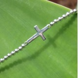horizontal sideways cross ball stretch bracelet 925 sterling