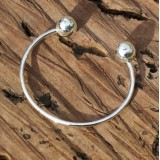 z baby bangle with ball ends for girls or boys 925 sterling