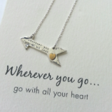word necklace wherever you go . . . go with all your heart 925 sterling silver