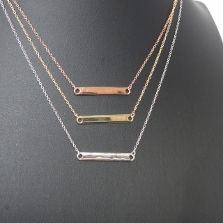 id identity bar name plate necklace in silver, rose gold and gold 925 sterling silver