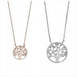 tree of life pendant necklace with clear cz leaves rose gold or silver 925 sterling