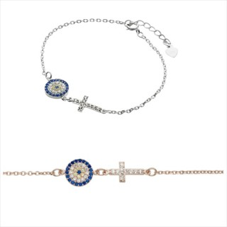 evil eye and cross cz horizontal sideways bracelet plain silver and rose gold 925 sterling